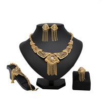 свадебные украшения из нигерии оптовых-Fashion tassel Jewelry Sets African Nigeria Beads Dubai Jewelry Set Women Wedding Bridal Turkish Choker Costume Set
