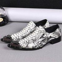 sapato de aço calçado homens venda por atacado-Mens Sapatos de Vestido Oxford Imprimir Sapatos de Pele De Cobra Homens de Aço Apontou Toe Deslizamento em Sapatos de Couro Homens Primavera Chaussures