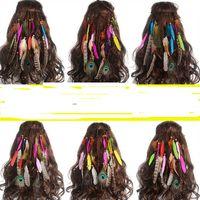 аксессуары для волос из бисера ручной работы оптовых-5 шт. Горячая распродажа перо повязка на голову женский головной убор богемный стиль перо павлина из бисера ручной работы ленты для волос аксессуары для волос