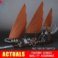 Wholesale Toy Building Block Pirates - Lepin 16018 Genuine New The lord of rings Series 756pcs The Ghost Pirate Ship Set Building Block Brick Toys 79008 children gifts