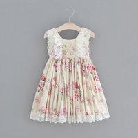 çiçek elbisesi elbisesi toptan satış-Kızlar çiçek elbise yaz çocuk dantel falbala fly kol elbise çocuklar çiçekler baskılı prenses elbise kızlar dantel falbala hem elbiseler A00416