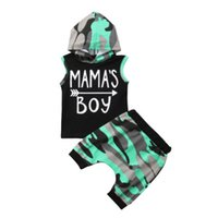 мальчики летние жилеты топы оптовых-Summer Toddle Baby Boys Camouflage Hoodie Tops Sleeveless T-shirt Vest Pants Trouser Outfits Clothes Sets 2Pcs Baby Boy 6M-4T
