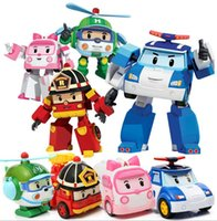 Wholesale Mini Car Tv - MiNi High Quality Pockets Poli Toy Transformation Robot Car Toys Poli Robocar Korea Toys Best Gifts For Children 4pcs set Without Box