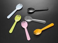 Wholesale baby shower tea party resale online - 500PCS Disposable Plastic Ice Cream Spoon Tea Spoon Mini Size Flatware Cutlery Baby Shower Party Supplies Xmas