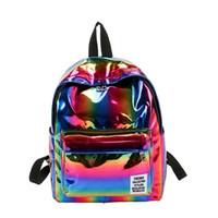 Wholesale hologram laser backpack resale online - Women PU Laser Rainbow Hologram Backpacks Street Travel Backpack Girls Shoulder School Bags