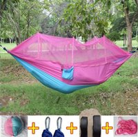 Wholesale fold beds - 12 Colors 260*140cm Portable Hammock With Mosquito Net Single-person Hammock Hanging Bed Folded Into The Pouch For Travel CCA6841 10pcs