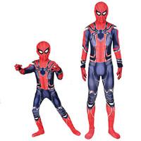 ingrosso modelli di costumi del supereroe-Spiderman Costume 3D Stampato Bambini Adulto Spandex Homecoming Iron Spider Man Costume Body Uomini Halloween Cosplay Zentai Suit