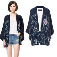 Wholesale Ladies Black Capes - Phoenix Printing Kimono Bat Sleeve Cardigan Lady Kimono Jacket Women Cape Outerwear