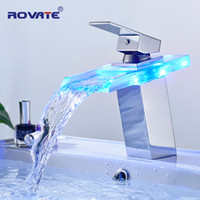 Wholesale wash basin bathroom glass sinks - ROVATE LED Basin Faucet Brass Waterfall Temperature Colors Change Bathroom Mixer Tap Deck Mounted Wash Sink Glass Taps