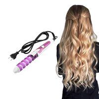 enrolladores de pelo rizos en espiral al por mayor-Moda DIY Popular Curling Roller Curl Style Hair Styling Ceramic Spiral Rollers Curling Iron Electrically Heated Hair-rizador