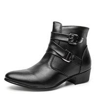 spitzen zehenstiefel für männer großhandel-Britischen Stil Casual Men Herbst Stiefeletten Heels Mode Spitz Martin Stiefel Trendy Männer Lederstiefel Schuhe Männer
