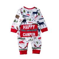 ropa de bebé de navidad osos al por mayor-2018 Navidad niña bebé recién nacido pijamas traje de los niños traje a rayas Romper oso del reno de Navidad al por mayor de invierno ropa de bebé 0-18M