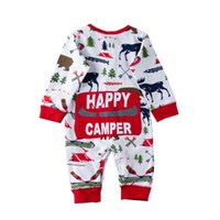 d08015aca445f 2018 noël bébé fille garçon pyjamas tenue nouveau-né enfants body rayé  barboteuse ours renne hiver gros noël bébé vêtements 0-18 m