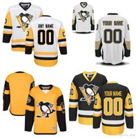 Wholesale Pittsburgh Embroidery - Customized Men Pittsburgh Penguins Jerseys Custom Stitched Any Name Any Number Ice Hockey Jersey BlacK White Embroidery Logos Size 46-56