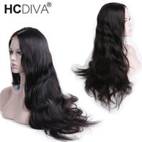 черные волосы парики волны оптовых-Малайзийская волна тела 360 полный кружева фронтальные парики предварительно сорвал с ребенка волосы Реми человеческих волос парики натуральный черный для женщины HCDIVA парики