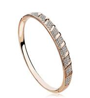 новый австрийский кристаллический браслет оптовых-Fashion Austrian Crystal Bracelet Bangle Gold Color Plated New Girls Women Jewelry 1018