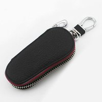 Wholesale Leather Keychain Purse - Car boutique key bag PU Leather Housekeeper Holders Car Keychain Covers Zipper Key Wallet Holder Pouch Purse