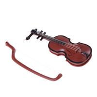 keman müziği enstrümanı toptan satış-Dekoratif Müzik Enstrüman El Sanatları için 1 Adet Plastik Mini Keman Dollhouse DIY Ev Dekorasyon çocuk hediye 8.5 * 3.2 * 1.5 CM