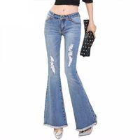 0bc86cd25a8d2 Trou Ripped Flare Jeans Femmes Long Bell-Bottoms Jeans Stretching Pour  Filles Pantalon Pour Femmes Jeans Grande Taille