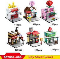 Wholesale Mini Architecture - 6 models Architecture blocks Mini shop series rose French fries street Model Bricks Boys Educational Blocks Toys #657001-006