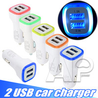 Wholesale dual usb cell phone charger - 5V 2.1A Dual USB Ports Led Light Car Charger Adapter Universal Charging Adapter for iphone Samsung S9 Note8 HTC LG Cell phone