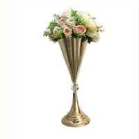 Wholesale europe led online - Gold Vase CM quot Flower Vases Brief Wedding Table Centerpiece Event Table Road Lead Flower Rack For Home Decor