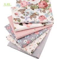 feuilles imprimées florales roses achat en gros de-Chainho, tissu de coton sergé à imprimer, floral rose chaud pour couture / tissu de bébéChild / feuille en feuille, matériel pour oreillers, demi-mètre