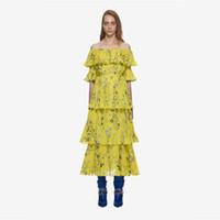 желтое шифоновое платье макси оптовых-Богемный с плеча желтый цветочные печатных оборками шифон платье макси vestido