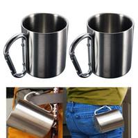 taza de pared doble de acero camping al por mayor-Acampar al aire libre taza de acero inoxidable taza de café 220 ml 300 ml 350 ml mosquetón gancho doble pared tazas OOA4626