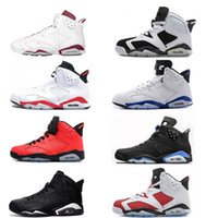 Wholesale green lifestyle - 6 carmine basketball shoes Classic 6s UNC black blue white infrared low chrome men sport blue red oreo alternate Oreo black cat
