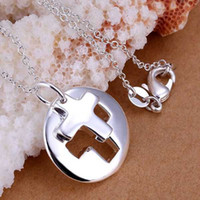 Wholesale Cute Christmas Couples Gifts - whole saleFree Shipping 925 jewelry silver plated Jewelry Pendant Fine Fashion Cute Couple Cross Necklace Pendants Top Quality CP017