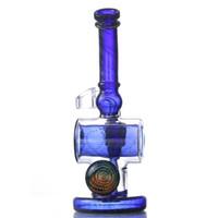Wholesale Glass Sculptures - 2018 tornado perc bong water pipes dabber blue fab egg mini rig cheap clear glass thick glass bongs build a bong sculpture