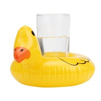Wholesale inflatable yellow duck - Cute Yellow Duck Floating Inflatable Drink Can Bath Toy Holder Classic Bath Toys for Children