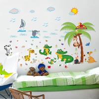 etiquetas da parede do oceano dos desenhos animados venda por atacado-Crocodilo dos desenhos animados animal paraíso adesivos de parede oceano golfinho praia crocodilo macaco girafa crianças quarto quarto diy decalques de parede