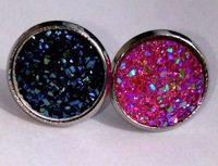 Wholesale Earings Round - Handmade Resin Stone Earings For Women Jewelry stud Earrings Round Square Fake Druzy Drusy Earings