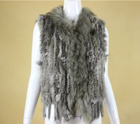 Wholesale fur vest gilet - 5 colors high quality Hot Sale Retail wholesale Raccoon Dog Fur Collar Trim Women Knitted Natural Rabbit Fur Vest Gilet waistcoat