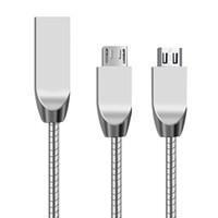yay veri kablosu toptan satış-Çinko Alaşım Bahar Mikro USB Kablosu 1 M 3Ft Hızlı Şarj ve Sync Veri Kablosu Samsung LG için