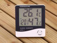 medidor de humedad higrómetro al por mayor-Termómetro higrómetro digital Medidor de humedad y temperatura Medidor de humedad Termómetro para cocina de autos al aire libre Reloj despertador interior