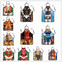 Wholesale christmas novelty fabric - 12 Styles Creative Aprons Novelty Funny Sexy Men Women Printed Joke Aprons Kitchen Muscle Christmas BBQ Camping Kitchen Tool CCA10012 50pcs