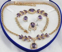 anel de ouro amarelo jade venda por atacado-O ouro amarelo GP inlay roxo cristal colar pulseira brinco anel 1 conjunto