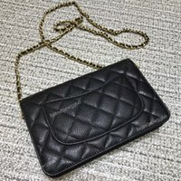 Wholesale quilted leather clutch - Excellent Quality Women Classic Quilted Caviar Woc Chain Bag Female Genuine Leather Clutches Cross-body Bags Women's Shoulder Mini Flap Bag
