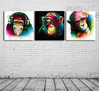 ingrosso pittura a olio di scimmia incorniciata-DJ Monkey, 3 pezzi Stampe su tela Wall Art Oil Painting Home Decor (senza cornice / con cornice)
