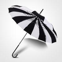 şemsiye büyük toptan satış-Uzun Gotik Klasik Windproof Kule Pagoda Yağmur Umbrella Kulp Büyük Çevre Dostu Yesello 1PCS Siyah Ve Beyaz Kadın Big