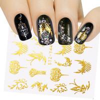 dövme desen altın toptan satış-1 Sayfalık Çiçekler Nail Art Sticker Altın Folyo Serisi Tırnak Sürgü Su Çıkartması İpuçları Çiçek Dövme Altın Süslemeleri LAYY30-44