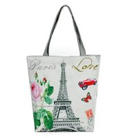 Wholesale art body figure - Wholesale women canvas bag Paris tower printing Canvas Handbag Shoulder Handbags landscape figures ladies bag shooping bags