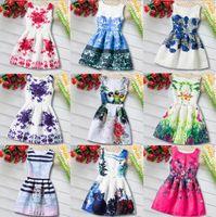 Wholesale Graffiti Dresses Wholesale - New Girls Floral Dress Princess Sleeve-less Graffiti Dress Korean Girls Clothing For 4~12 Y 4 p l