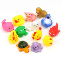 Wholesale Fishing Plastic Frogs - HOT One Dozen 13pcs Rubber Animals With Sound Baby Shower Party Favors animal Toy pig fish frog toy