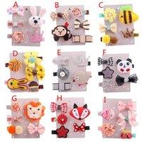 Wholesale wholesale lace motifs - 5Pcs Kids Infant Hairpin Baby Girl Cartoon animal motifs Hair Clip Set