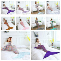 Wholesale car quilts online - 180 CM Fashion Adult Mermaid Tail Quilt Blanket Knitted Crochet Wrap Costumes For Sofa Couch Bed Car DDA617