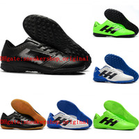 messi botas negras baratos al por mayor-Zapatillas de fútbol para hombre para fútbol 2018 para hombre Césped de fútbol Nemeziz Messi Tango 18.4 TF IC Tacos de futbol black cheap